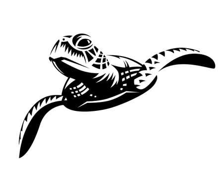 Black graphic sea turtle swimming, front view. Иллюстрация