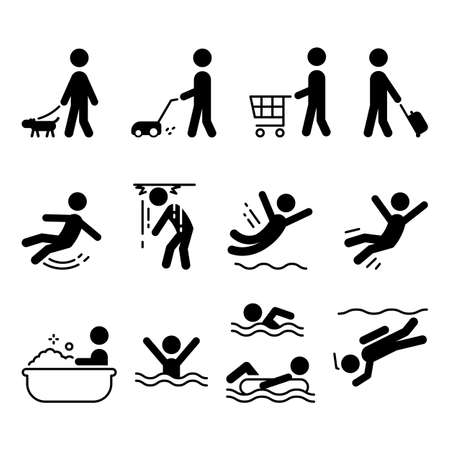 Icon collection people doing various activities, vector