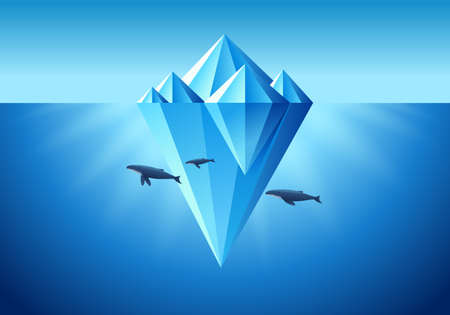 Painting a floating iceberg with a whale, blue tones.