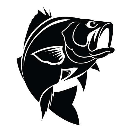 graphic black fish on white background, vector Иллюстрация