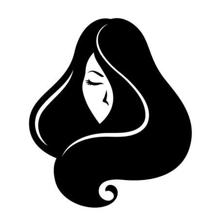 Graphic black beautiful woman head, salon symbol image. Иллюстрация
