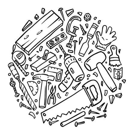 drawings of carpentry tools put together, doodle style