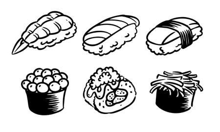 Six flavors of sushi set drawing on white background