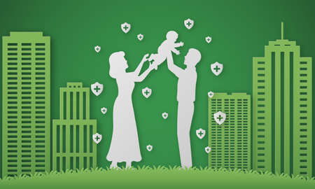 Family portraits of father and son paper cuts, green building images Фото со стока