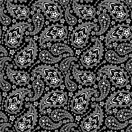Seamless black and white traditional indian paisley, vector