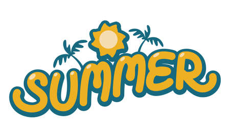 typography summer have border, icon sun and coconut tree, image vector on white background, Иллюстрация