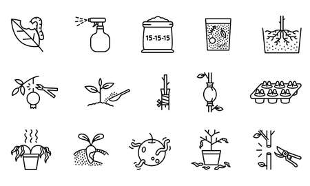 Collection of agricultural icons. Plant propagation symbols and problems. Simple design with black lines on white background.