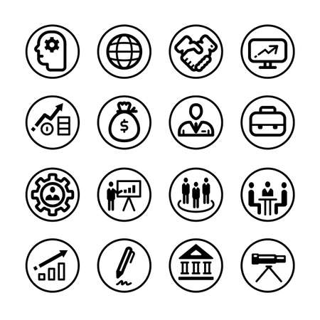 icon business corporate black on white background, collection of symbols in a circle.