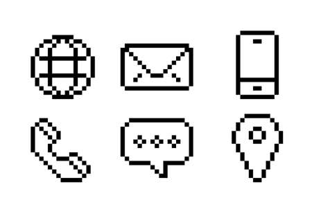 Simple contact us icon, black and white communication symbol set. vector image Иллюстрация