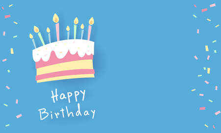 A sweet colored birthday cake painting with candles embroidered on top. The blue background has space for inserting text. vector image Иллюстрация