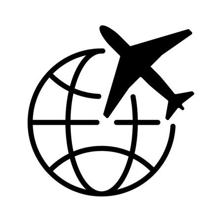 Simple black graphics of planes with earth, global transport aviation icons. vector image