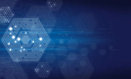 technology background with hexagon elements and blue light, Modern abstract illustrations suited to digital content. Фото со стока