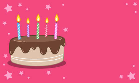 Chocolate-flavored birthday cake painting with lit candles embroidered on top. vector image