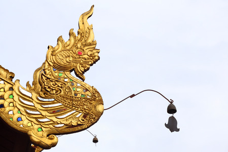 dragon vertical: Dragon Carving in Asian Stock Photo