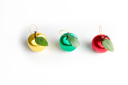 christmas decorations with white background: Christmas decorations, red apple isolated on a white background.