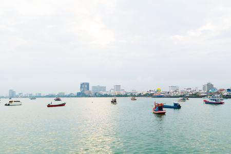 early morning: very early morning  Panoramic view of sea near the town at asia Stock Photo