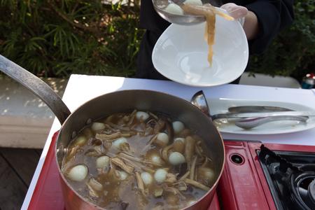 maw: Process, Fish maw in chicken broth Stock Photo