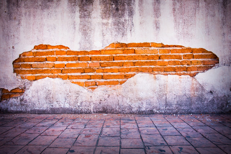 cracked wall: grunge background, red brick wall texture bright plaster wall and blocks road sidewalk abandoned exterior urban background for your concept or project.