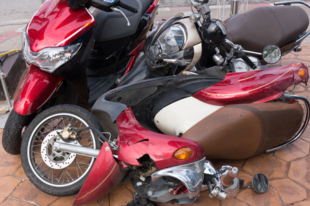 fatal: Motorbike accident on the city street Stock Photo