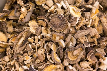 close up food: close up of dried shiitake mushrooms food background