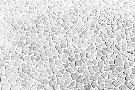 vintage white The pebble stone floors and wall, background textures