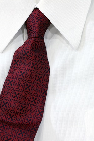 necktie: red tie  on white shirt Stock Photo
