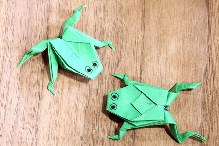 Frog paper on the floor.  photo