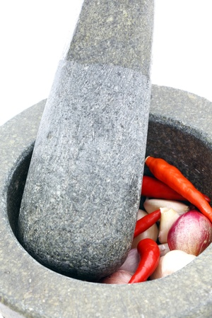 Stone mortar and pestle  photo