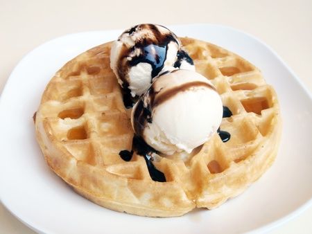 Waffles and ice cream.  photo