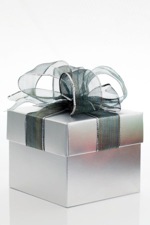 Silver gift box  photo