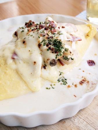 japon food: Omelette de riz et fromage � la cr�me, jambon, Japon alimentaire