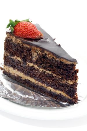 strawberry cake: chocolate cake