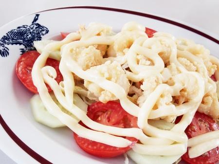 fried shrimp with salad cream  photo