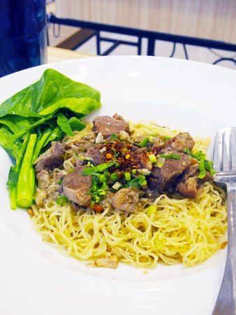Egg noodles with pork  photo