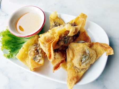 Fried dumplings accompanied with a dipping sauce Stock Photo - 13601062