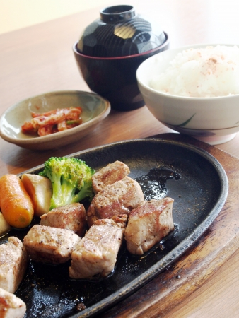 Japanese pork steak set  photo