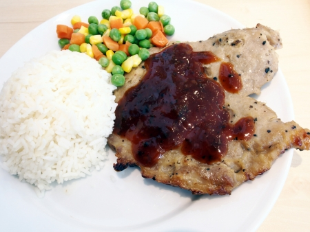 Pork Steak with rice  photo