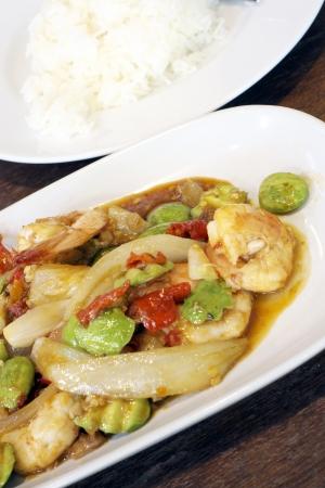 kitchen spanish: Sato Spicy fried shrimp  Stock Photo