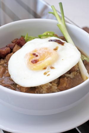 Chicken rice with egg fried Stock Photo - 20101169