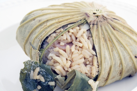 Rice wrapped in lotus leaves photo