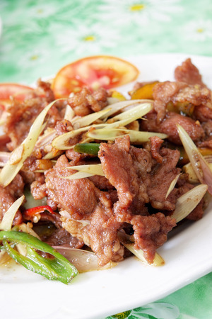 Fried pork with chilli photo