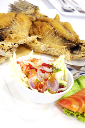 mango fish: Fried Fish with Mango Salad Stock Photo