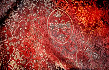 adorned: red chintz.  Stock Photo