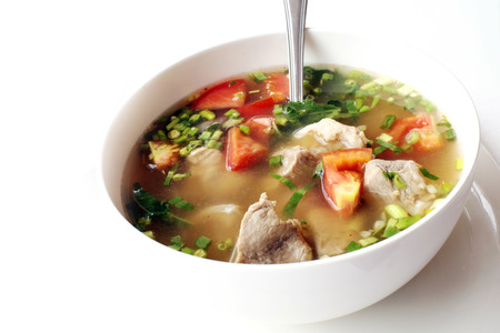 yum: Pork Tom Yum Stock Photo