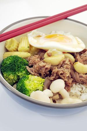 teriyaki: Rice with Pork Teriyaki Stock Photo