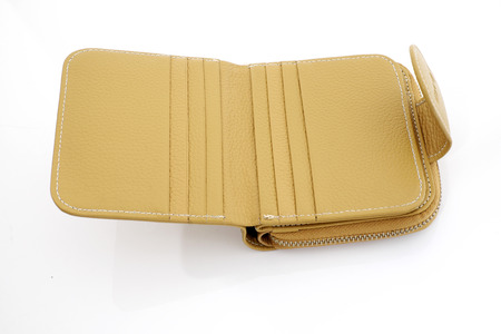 Leather wallet on white background photo