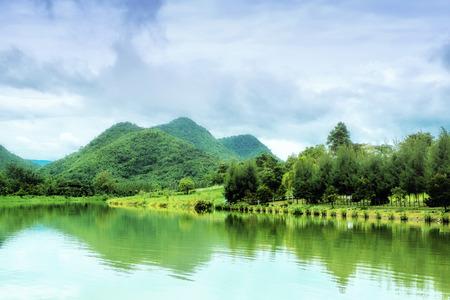ratchaburi: Lake and mountains in Ratchaburi, Thailand.
