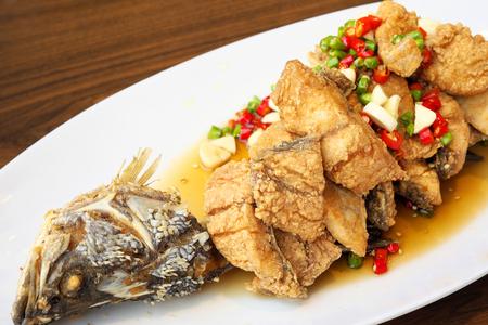 fish fry: Fish fry pepper and fresh garlic