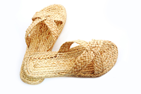 made of water: Sandals made of water hyacinth Stock Photo