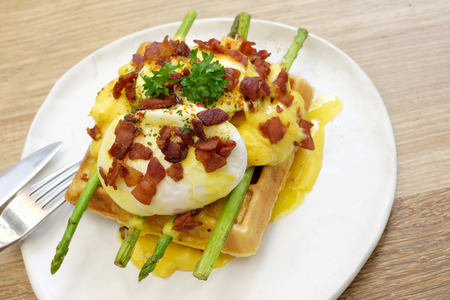 benedict: Waffles ham cheese and egg.